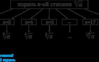 Корень n степени задания. Корень степени n: основные определения. Вынесение минуса из-под знака корня